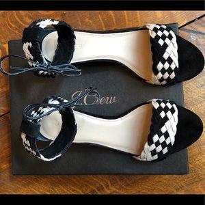 J. Crew Woven Suede Wedge Sandals Sz 9/40